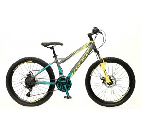 ΠΟΔ/ΤΟ KRON VORTEX 4.0 26 41H 21S. M.DISC MATT GREY-DARK TURQUOISE/YELLOW